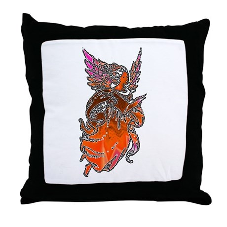 Pretty Orange Angel Throw Pillow