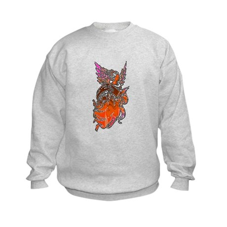 Pretty Orange Angel Kids Sweatshirt