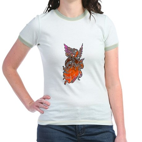 Pretty Orange Angel Jr. Ringer T-Shirt