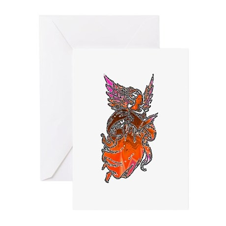 Pretty Orange Angel Greeting Cards (Pk of 10)