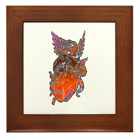 Pretty Orange Angel Framed Tile