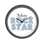 Blue Brown Future Rock Star Wall Clock