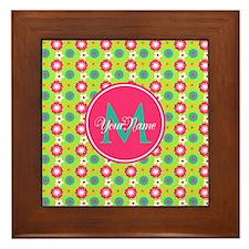 Green and Pink Floral Custom Monogram Framed Tile