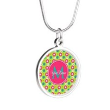 Green and Pink Floral Custom Silver Round Necklace