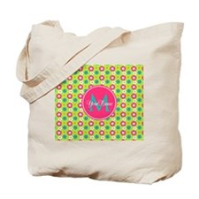 Green and Pink Floral Custom Monogram Tote Bag