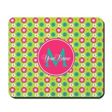 Green and Pink Floral Custom Monogram Mousepad