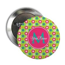 """Green and Pink Floral Custom Monogram 2.25"""" Button"""