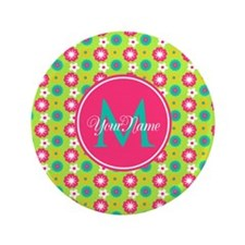"""Green and Pink Floral Custom Monogram 3.5"""" Button"""
