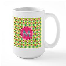 Green and Pink Floral Custom Monogram Mug