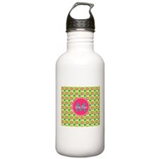 Green and Pink Floral Water Bottle