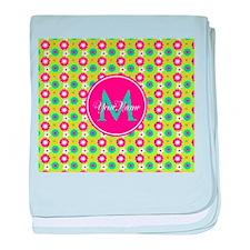 Green and Pink Floral Custom Monogram baby blanket
