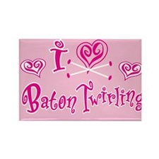 I Heart Baton Twriling Rectangle Magnet (10 pack)