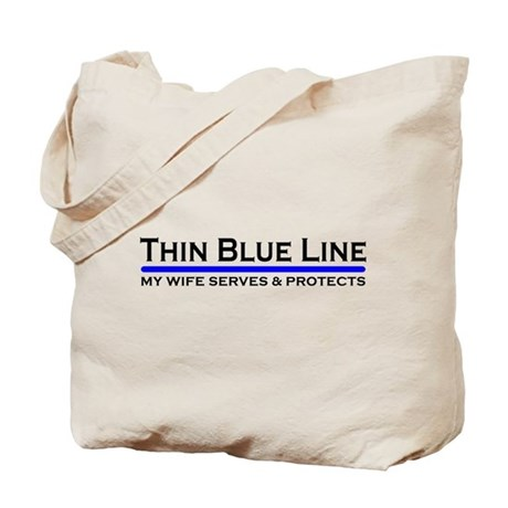 Blue Line Police Husband Tote Bag