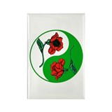 Yin Yang Roses 4 Rectangle Magnet