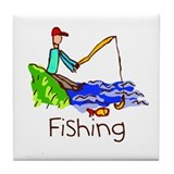 Kid Art Fishing Tile Coaster