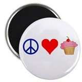 "Peace Love Cupcakes 2.25"" Magnet (10 pack)"