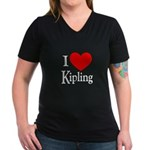 I Love Kipling Women's V-Neck Dark T-Shirt