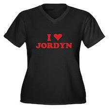 I LOVE JORDYN Women's Plus Size V-Neck Dark T-Shir