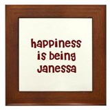 happiness is being Janessa Framed Tile