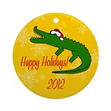 Alligator Happy Holidays! Round Ornament