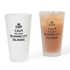 Keep calm we live in Delaware City Drinking Glass