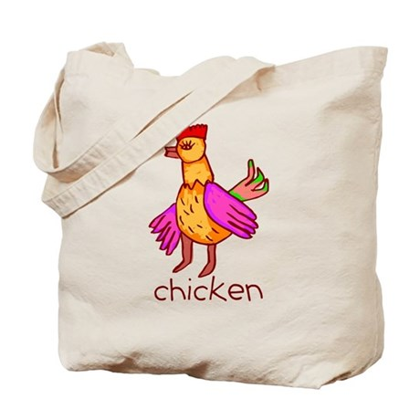 Kid Art Chicken Tote Bag