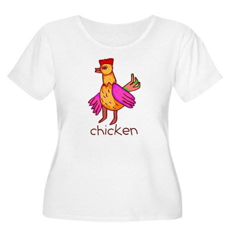 Kid Art Chicken Women's Plus Size Scoop Neck T-Shi