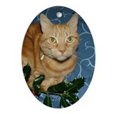 Ginger Cat & Holly Oval Ornament