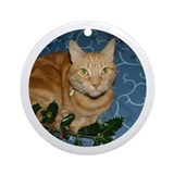 Ginger Cat & Holly Round Ornament