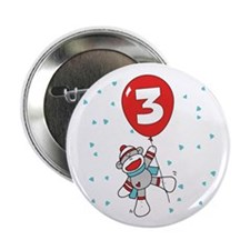 Sock Monkey 3rd Birthday Button