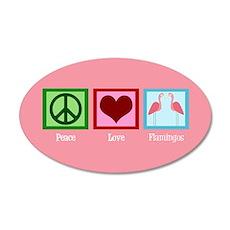 Peace Love Flamingos 20x12 Oval Wall Decal