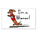 Red Wiener Winner Rectangle Decal