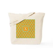 Custom Initial Orange Quatrefoil Tote Bag