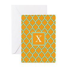 Custom Initial Orange Quatrefoil Greeting Cards
