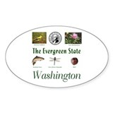 Evergreen State (green) Oval Decal