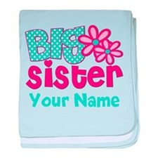 Big Sister Teal Pink Personalized baby blanket