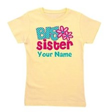 Big Sister Teal Pink Personalized Girl's Tee