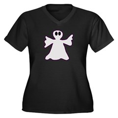 Halloween Ghost Women's Plus Size V-Neck Dark T-Sh