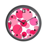 Pink Bubbles Wall Clock