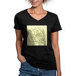 D'Anvers On Canvas Women's V-Neck Dark T-Shirt