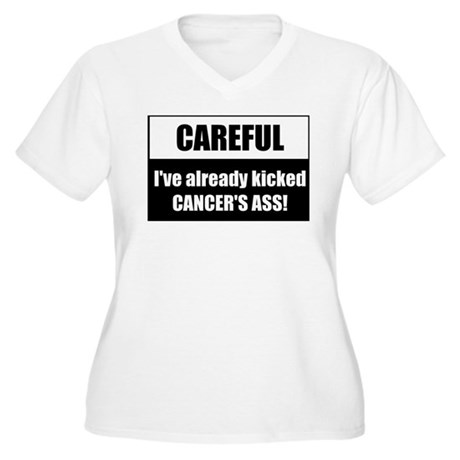Kicked Cancer's Ass Women's Plus Size V-Neck T-Shi