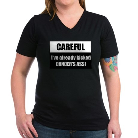 Kicked Cancer's Ass Women's V-Neck Dark T-Shirt