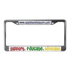 Support. Educate. Advocate. License Plate Frame