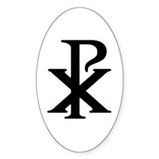 Chi Rho Oval Decal