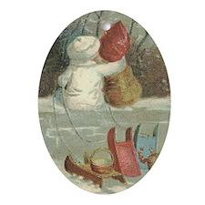 Young Tobogganers Vintage Image Ornament