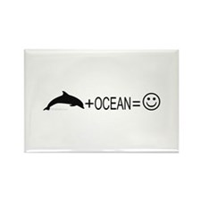Dolphin+Ocean=Happy Rectangle Magnet (100 pack)