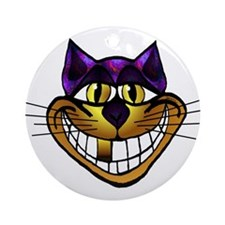 Golden Cheshire Cat Ornament (Round)