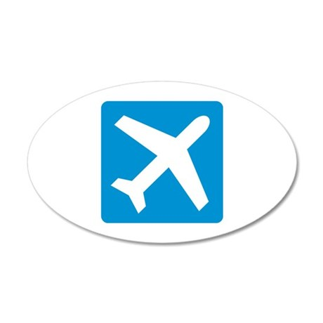 Blue airplane icon 20x12 Oval Wall Decal