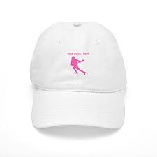 Pink Lacrosse Player (Custom) Baseball Baseball Cap