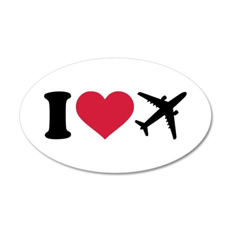 I love airplanes 20x12 Oval Wall Decal